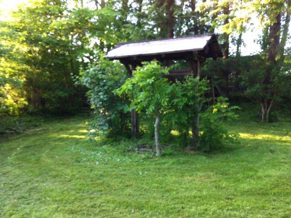 Hier möchte ich die Pflanzen noch weg haben, das Dach neu decken und dann einen kleinen Brunnen drunter bauen...
