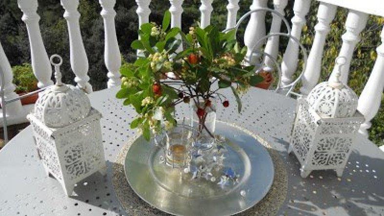 """Deko auf der Terrasse. Die Zweige sind vom """"Modroño"""" auch Erdbeerbaum genannt, Lustigerweise trägt er gleichzeitig Blüten und Früchte"""
