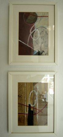 Die gemalten Bilder ob gerahmt oder auf Leinwand sind alle von mir in meinem Atelier entstanden.