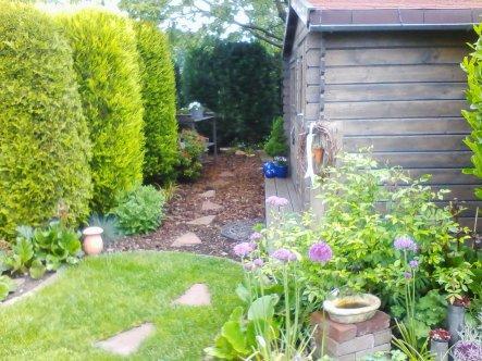 Blick zum Gartenende. Rechts steht unser Gartenhaus, dahinter der Kirschbaum.