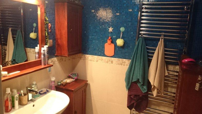 Das Bad ist zwar recht klein, aber da wir die Waschmaschine wo anders untergebracht haben, ist es ok.
