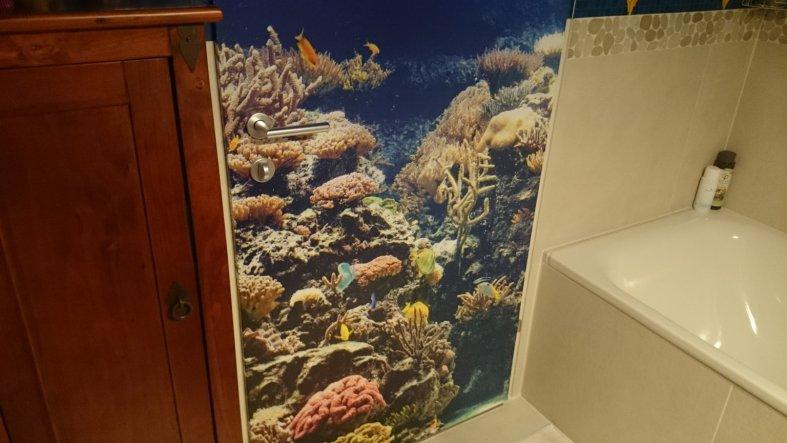 Die Türe im Bad hat den zweiten Teil der Folie wie die in der Toilette...
