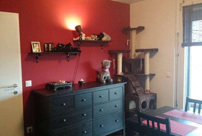 Die rote Wand von der Küche geht bis ins Esszimmer.