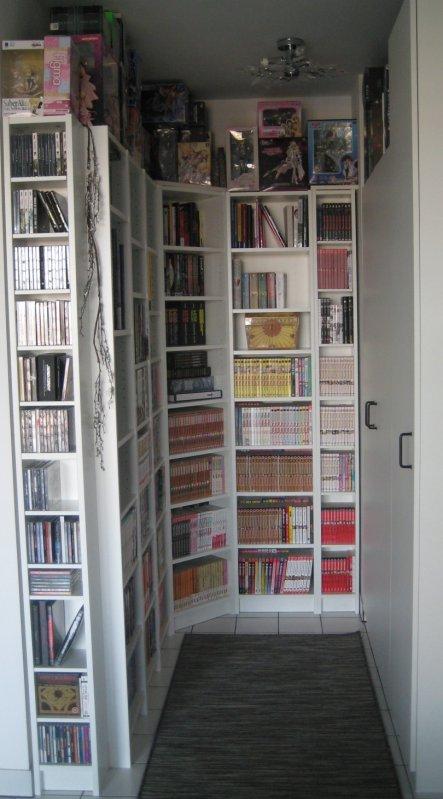 Unsere kleine Mini-Bibliothek, die wir ins Eck im Arbeitszimmer eingebaut haben.