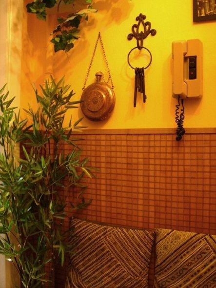Hier noch eine bessere Ansicht des als Wandverkleidung umfunktionierten Baumbusrollos. Die Gegensprechanlage ist doch der Hammer an Häßlichkeit, oder?