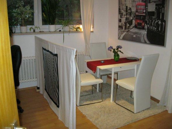 Links neben dem Raumtrenner ist ein Stück einer der Schreibtischstühle zu sehen. Dort ist unsere Arbeitsecke.