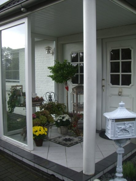 Hausfassade / Außenansichten 'Der Eingang mit Verglasung'