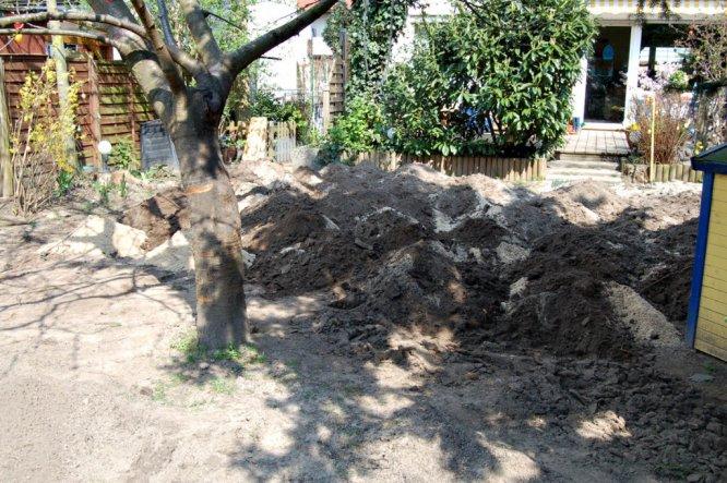 Damit der lehmige Boden den neuen Rollrasen nicht kaputt macht, habe ich 8 Tonnen Sand untergearbeitet!