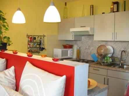 Die Küchenzeile wurde bereits vor dem Einzug vom Vermieter eingebaut.