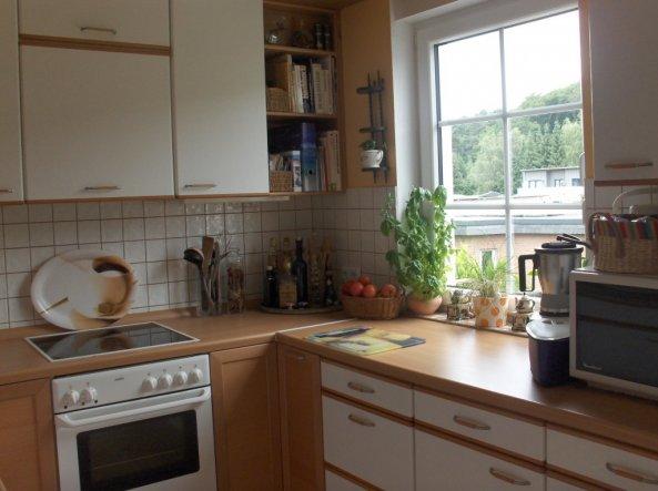 Aus dem Küchenfenster habe ich einen schönen Blick ins Grüne. Hier macht mir das Kochen Spaß.