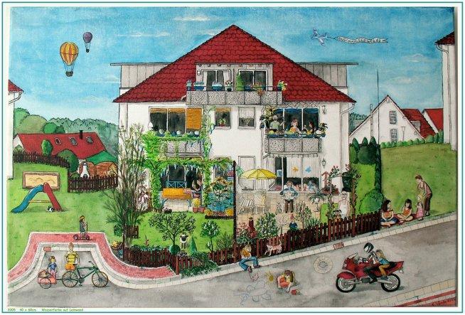 Unser altes Haus - bewußt ganz naiv gemalt...