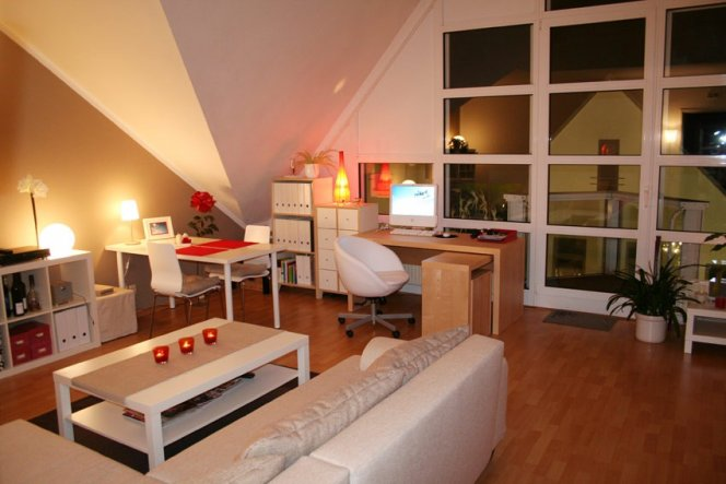 kleines wohnzimmer welche wandfarbe: wohn schlaf und arbeitszimmer., Esszimmer dekoo