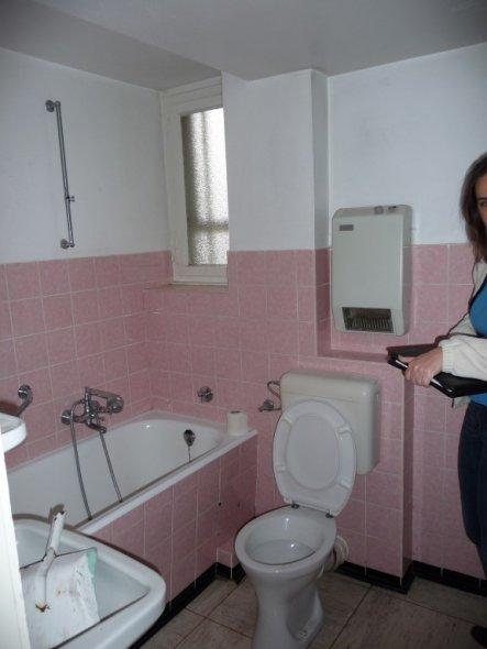 ein Alptraum in rosa und dazu noch ein Drurchgangsbad mit 3 Türen, eine davon zum Keller. Hieraus ist nach Abtrennung ein Gäste-WC entstanden.