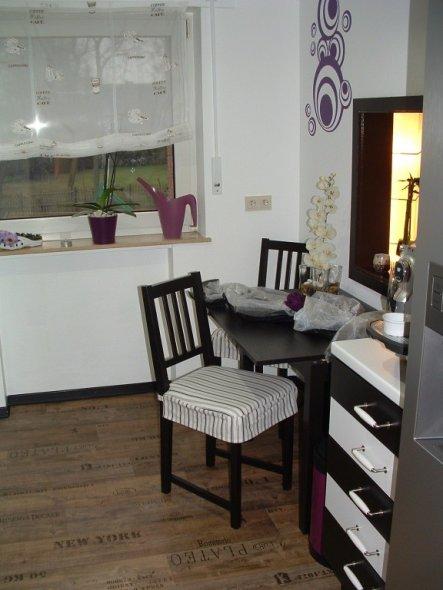 unser kleiner Esstisch in der Küche.Der reicht uns eigendlich.