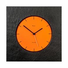 Vaerst Funk-Wanduhr aus Naturschiefer, Zifferblatt Orange, Trenduhr - Skala Schwarz