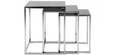 Tisch Robin - 3-Satz - schwarze Glasplatte - Chromgestell, Fredriks