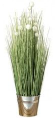 Kunstpflanze Gras - Kunststoff - Grün / Silber, Ars Natura